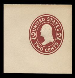U.S. Scott # U 406a, 1907-16 2c Washington, brown red on white, Die 2 - Mint Full Corner