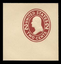 U.S. Scott # U 406b, 1907-16 2c Washington, brown red on white, Die 3 - Mint Full Corner