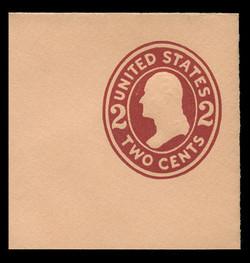 U.S. Scott # U 408b, 1907-16 2c Washington, brown red on buff, Die 3 - Mint Full Corner