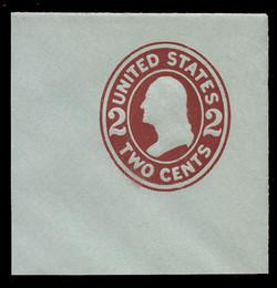 U.S. Scott # U 409, 1907-16 2c Washington, brown red on blue, Die 1 - Mint Full Corner