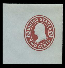 U.S. Scott # U 409b, 1907-16 2c Washington, brown red on blue, Die 3 - Mint Full Corner