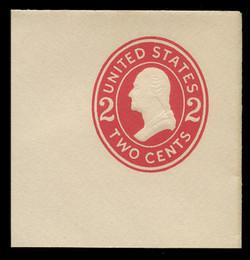 U.S. Scott # U 411c, 1907-16 2c Washington, carmine on white, Die 4 - Mint Full Corner