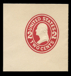 U.S. Scott # U 411d, 1907-16 2c Washington, carmine on white, Die 5 - Mint Full Corner
