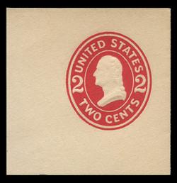 U.S. Scott # U 411e, 1907-16 2c Washington, carmine on white, Die 6 - Mint Full Corner