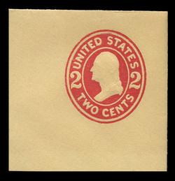 U.S. Scott # U 412, 1907-16 2c Washington, carmine on amber, Die 1 - Mint Full Corner