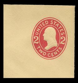 U.S. Scott # U 412c, 1907-16 2c Washington, carmine on amber, Die 4 - Mint Full Corner