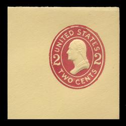U.S. Scott # U 412cR, 1907-16 2c Washington, fairly dark red on amber, Die 4 - Mint Full Corner (See Warranty)
