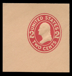 U.S. Scott # U 413, 1907-16 2c Washington, carmine on buff, Die 1 - Mint Full Corner