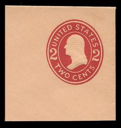 U.S. Scott # U 413c, 1907-16 2c Washington, carmine on buff, Die 4 - Mint Full Corner