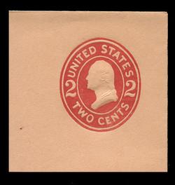U.S. Scott # U 413g, 1907-16 2c Washington, carmine on buff, Die 8 - Mint Full Corner