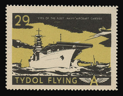 """Tydol Flying """"A"""" Poster Stamps of 1940 - #29, """"Eyes of the Fleet"""" - Navy Aircraft Carrier"""