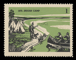 Chicagoland Poster Stamps of  1938 - #  1 Indian Camp, 1672