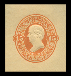 U.S. Scott # U  98, 1870 15c Webster, red orange on cream - Mint Cut Square