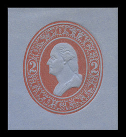 U.S. Scott # U 229, 1883 2c Washington, red on blue - Mint Cut Square