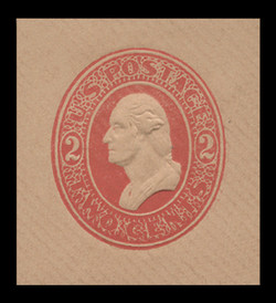 U.S. Scott # U 230, 1883 2c Washington, red on fawn - Mint Cut Square