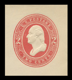 U.S. Scott # U 231, 1883 2c Washington, red on white - Mint Cut Square