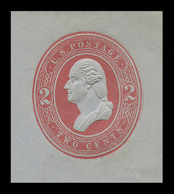 U.S. Scott # U 233, 1883 2c Washington, red on blue - Mint Cut Square