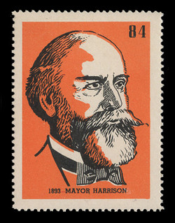 Chicagoland Poster Stamps of  1938 - # 84 Mayor Harrison, 1893