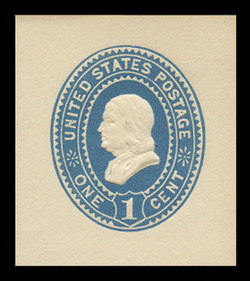 U.S. Scott # U 294, 1887 1c Franklin, blue on white - Mint Cut Square