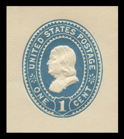 "U.S. Scott # U 294S, 1887 1c Franklin, ""Spur Die"" (UPSS Die 84), blue on white - Mint Cut Square"