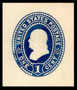 U.S. Scott # U 295, 1894 1c Franklin, dark blue on white - Mint Cut Square
