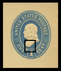 "U.S. Scott # U 296SC, 1894 1c Franklin, ""Scoop Die"" (UPSS Die 85), blue on amber - Mint Cut Square"