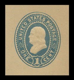U.S. Scott # U 301, 1887 1c Franklin, blue on manila - Mint Cut Square