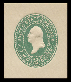 U.S. Scott # U 311, 1887 2c Washington, Die 2, green on white - Mint Cut Square