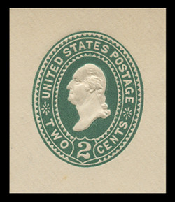 U.S. Scott # U 311a, 1894 2c Washington, Die 2, dark green on white - Mint Cut Square