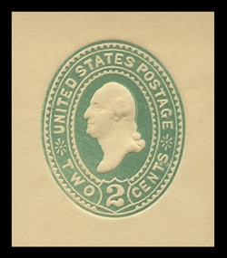 U.S. Scott # U 312, 1887 2c Washington, Die 2, green on amber - Mint Cut Square