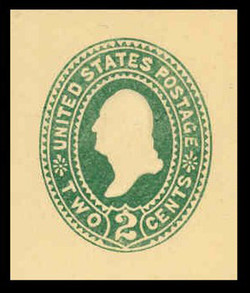 "U.S. Scott # U 312C, 1887 2c Washington, ""Cap on 2"", (UPSS Die 88b), green on amber - Mint Cut Square (See Warranty)"