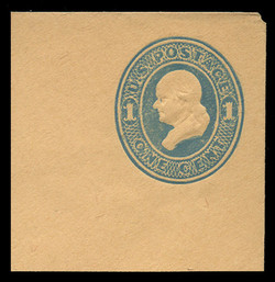 U.S. Scott # U 115, 1874 1c Franklin, Die 2, blue on cream - Mint Full Corner