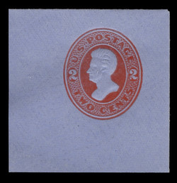 U.S. Scott # U 146, 1880 2c Jackson, Die 5, vermilion on blue - Mint Full Corner