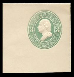 U.S. Scott # U 163, 1874 3c Washington, Die 2, green on white - Mint Full Corner