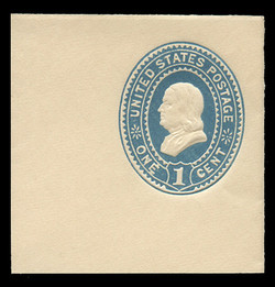 U.S. Scott # U 294, 1887 1c Franklin, blue on white - Mint Full Corner