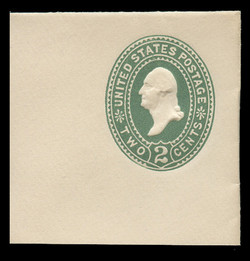 U.S. Scott # U 311, 1887 2c Washington, Die 2, green on white - Mint Full Corner