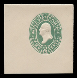 "U.S. Scott # U 311NE, 1887 2c Washington, ""No Ear Die"" (UPSS Die 90), green on white - Mint Full Corner (See Warranty)"