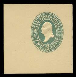 "U.S. Scott # U 312C, 1887 2c Washington, ""Cap on 2"", (UPSS Die 88b), green on amber - Mint Full Corner (See Warranty)"