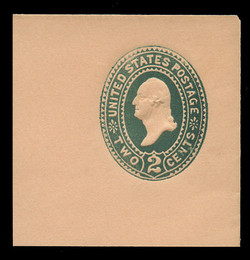 "U.S. Scott # U 313C, 1887 2c Washington, ""Cap on 2"", (UPSS Die 88b), green on buff - Mint Full Corner (See Warranty)"