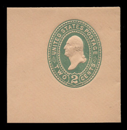 "U.S. Scott # U 313NE, 1887 2c Washington, ""No Ear Die"" (UPSS Die 90), green on buff - Mint Full Corner (See Warranty)"
