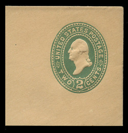 U.S. Scott # U 315, 1887 2c Washington, Die 2, green on manila - Mint Full Corner