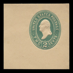 "U.S. Scott # U 315NE, 1887 2c Washington, ""No Ear Die"" (UPSS Die 90), green on manila - Mint Full Corner (See Warranty)"