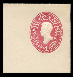 U.S. Scott # U 324, 1887 4c Jackson, carmine on white - Mint Full Corner