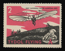 "Tydol Flying ""A"" Poster Stamps of 1940 - # 2, First Successful Glider -Lilienthal - 1892"