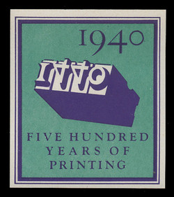 1940 (002) 500 Years of Printing Poster Stamp, Imperforate - Single Stamp