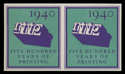 1940 (003) 500 Years of Printing Poster stamp, Imperforate - Pair