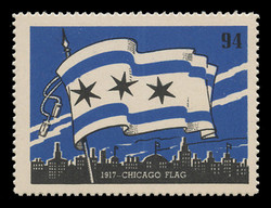 Chicagoland Poster Stamps of  1938 - # 94 Chicago Flag, 1917