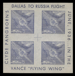 1936 (002) Clyde Pangborn Dallas to Russia Flight Poster Stamp Souvenir Sheets - Blue