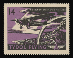 "Tydol Flying ""A"" Poster Stamps of 1940 - #14, ""The Southern Cross"" Spans the Pacific"