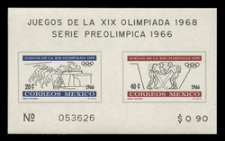 MEXICO Scott #  975a, 1966 1968 Olympics, Souvenir Sheet of 2, Imperforate